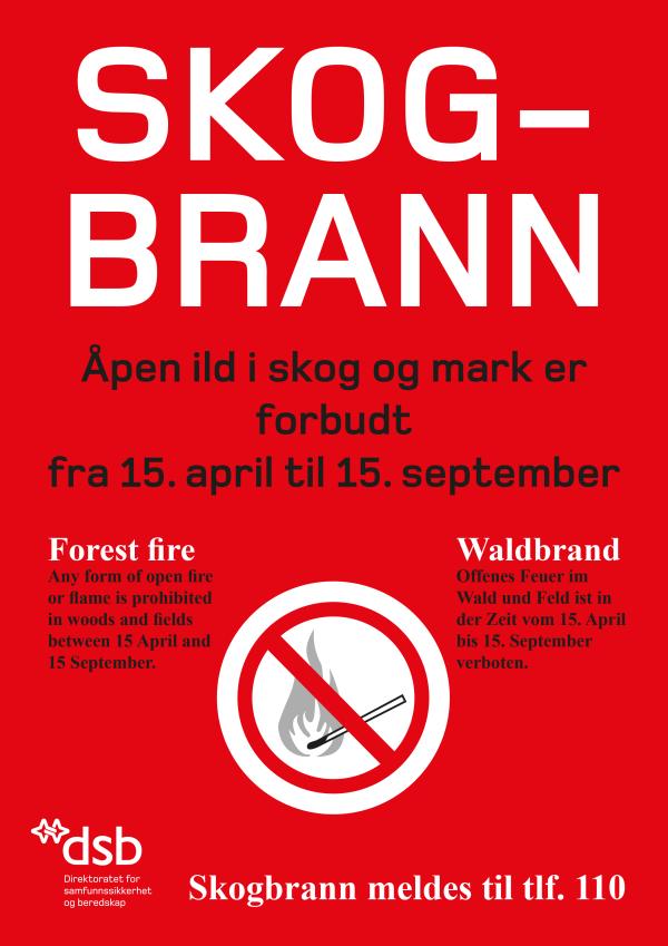 Skogbrann - åpen ild i skog og mark er forbudt fra 15. april til 15. september